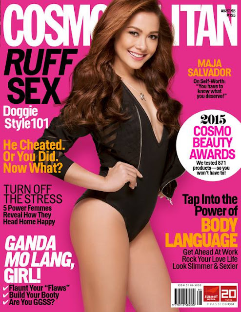 Maja Salvador Cosmopolitan August 2015 Cover Girl Wearing 1-Piece Swimsuit