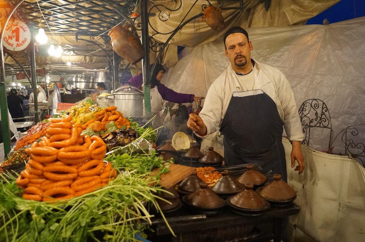 puestos de comida, plaza Djemaa el Fna