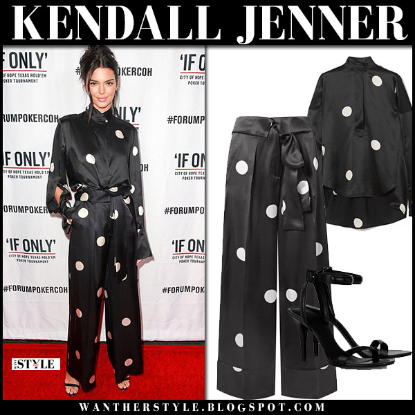 Kendall Jenner in black silk polka dot blouse and pants model red carpet style july 29