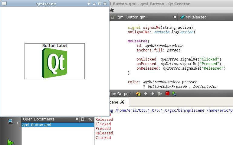 Qteveloper: qml example: implement custom signal and signal handler