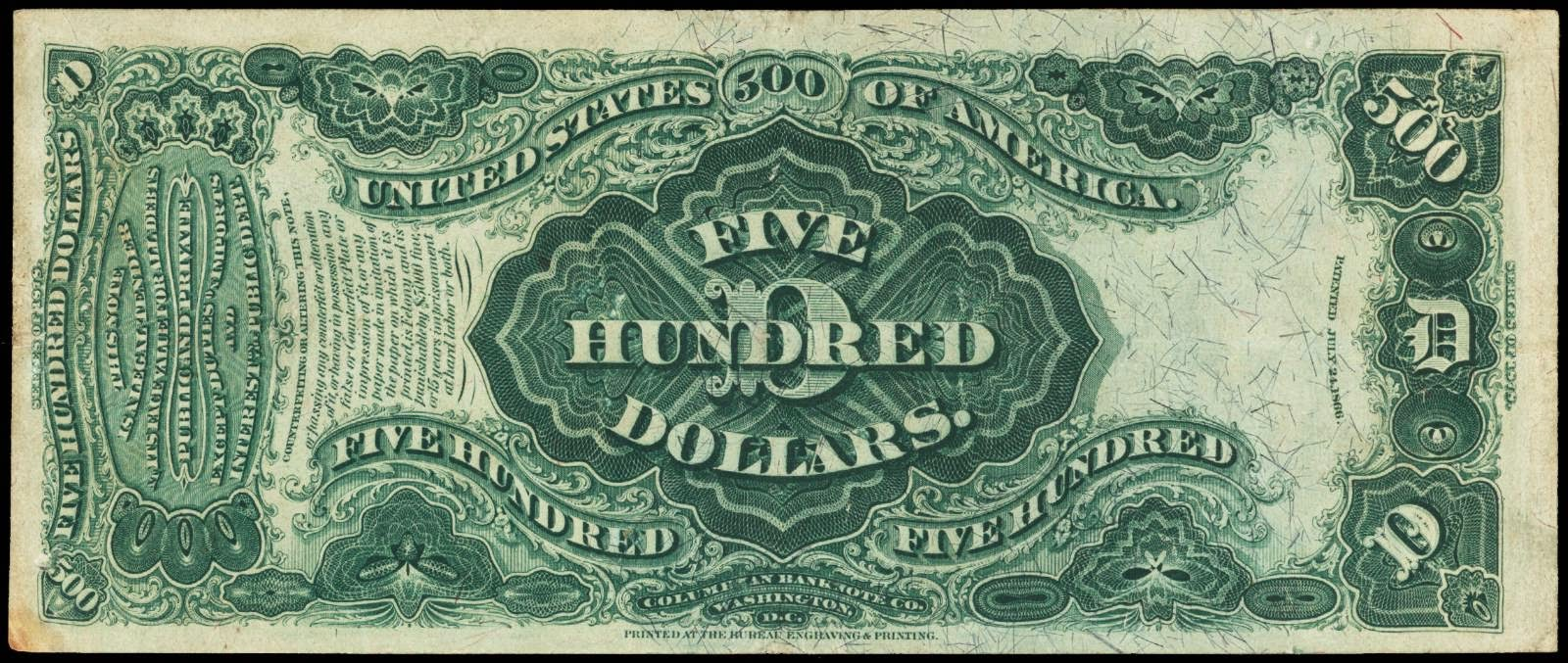 US currency $500 Legal Tender Note