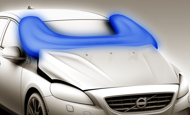 Volvo V40 pedestrian airbag illustration