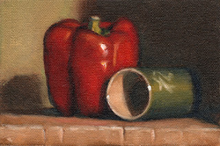 Oil painting of a red pepper beside a green ceramic cup positioned on its side.