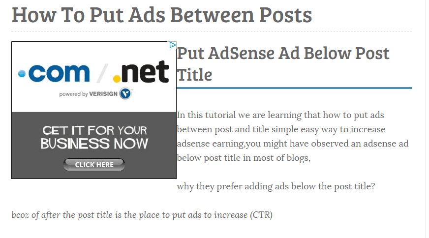 Put AdSense Ads Left Side