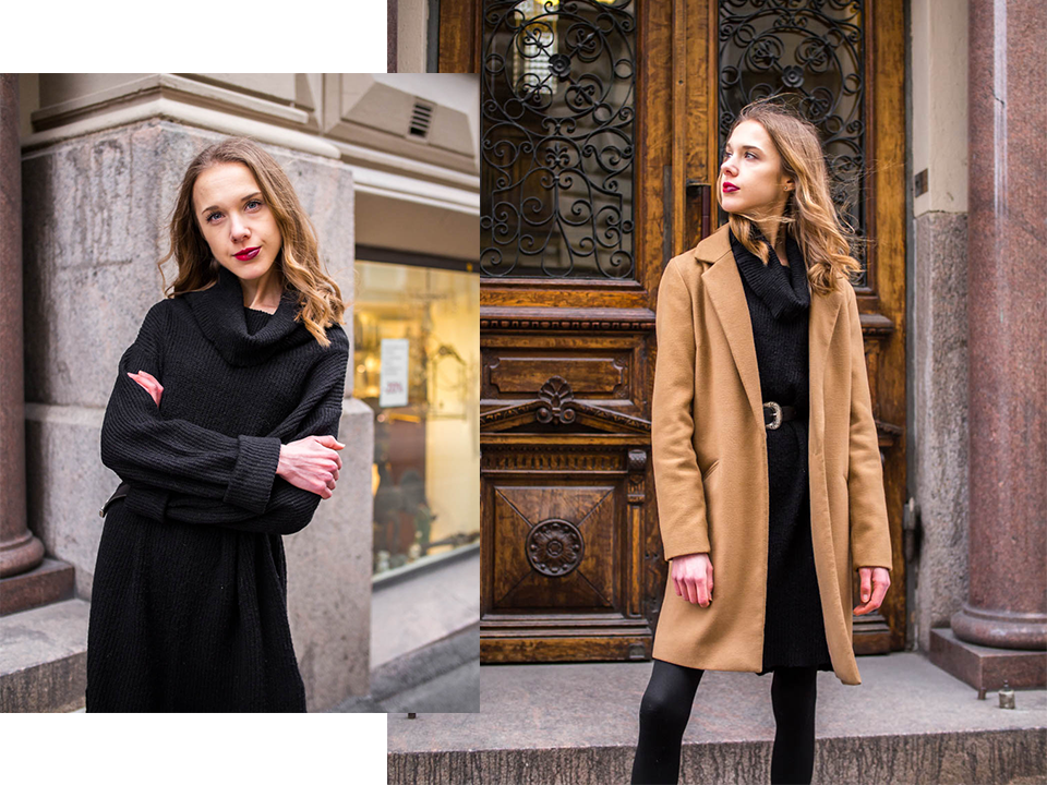 Black jumper dress and camel coat - Musta neulemekko ja kamelitakki