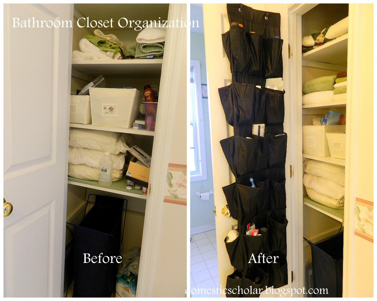 Bathroom Closet Organization Or Novel Uses For Shoe Organizers