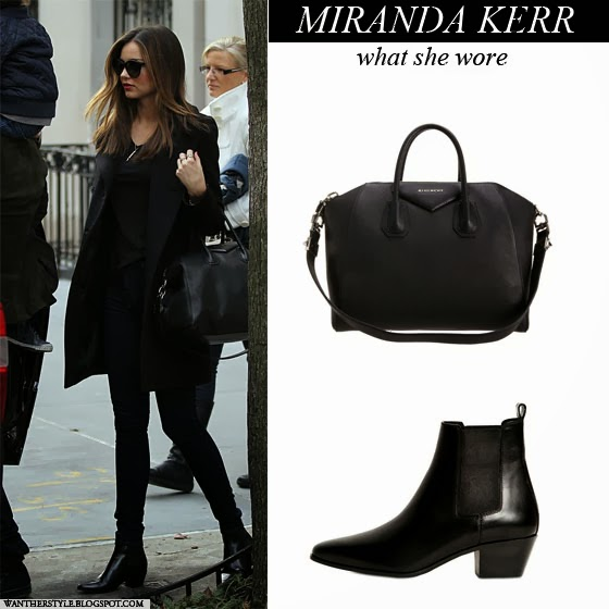 26a4822130a52 WHAT SHE WORE  Miranda Kerr in black leather ankle boots with black ...