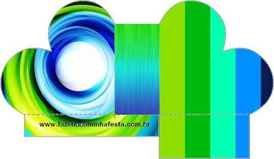 Caja abierta en forma de corazón de Azul y Verde.