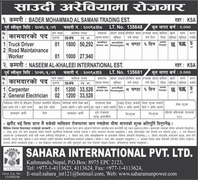 Recruitment opportunities at Saudi Arabia, Salary Up to Rs 50,292