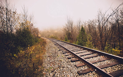 rail track in foggy weather widescreen hd wallpaper