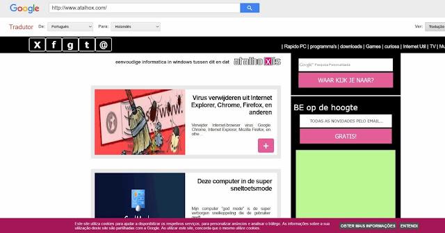 Utilização do atalhox.com em anonimato via Google Translate