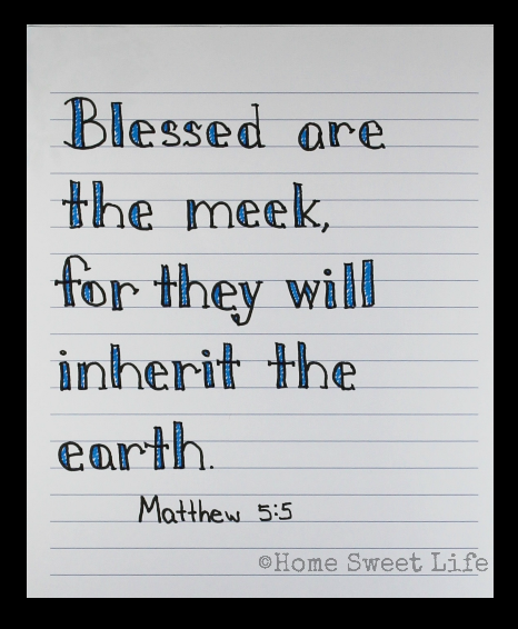 Scripture Writing, hand lettering, Matthew 5:5, Holy Week