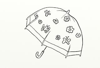 dibujo de paraguas con mariposas para colorear