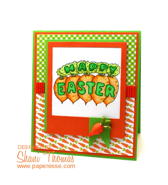 Happy Easter card, featuring QKR Stampeded Happy Easter digital stamp, by Paperesse.