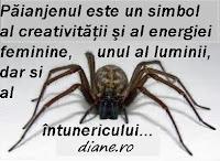 Păianjenul este un simbol al creativităţii şi al energiei feminine, unul al luminii, dar si al întunericului.