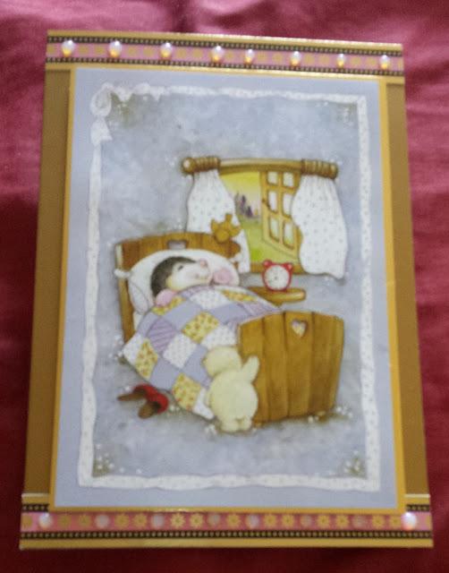 "Get well soon or birthday card - Hedgehog in bed - 7""x5"" card"