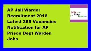 AP Jail Warder Recruitment 2016 Latest 265 Vacancies Notification for AP Prison Dept Warden Jobs