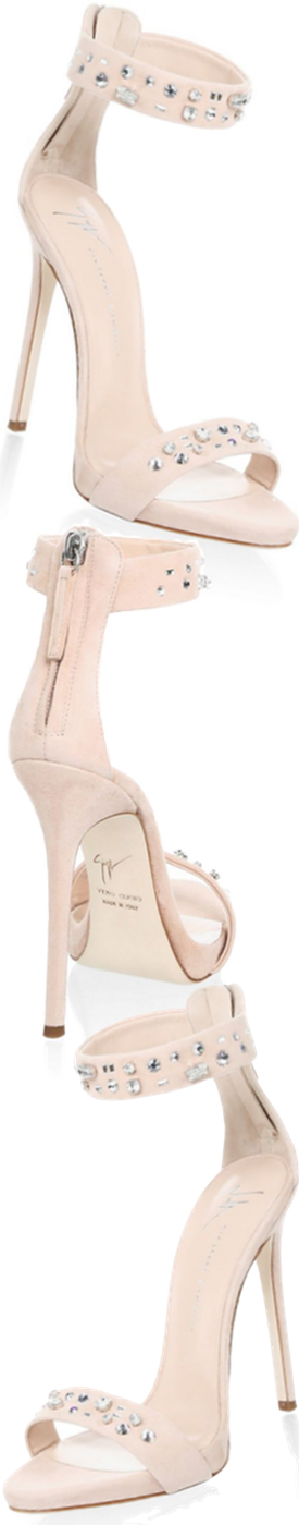 Giuseppe Zanotti Stud Suede Ankle Strap Sandals in Rosa