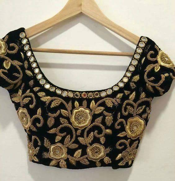 Rose floral zardosi blouse in black saree patterns