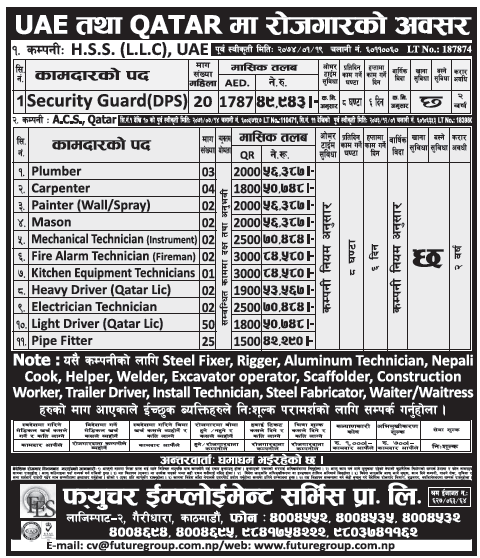 Jobs in UAE and Qatar for Nepali, salary Rs 84,580