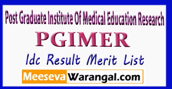 PGIMER Post Graduate Institute Of Medical Education Research Idc Result Merit List 2018