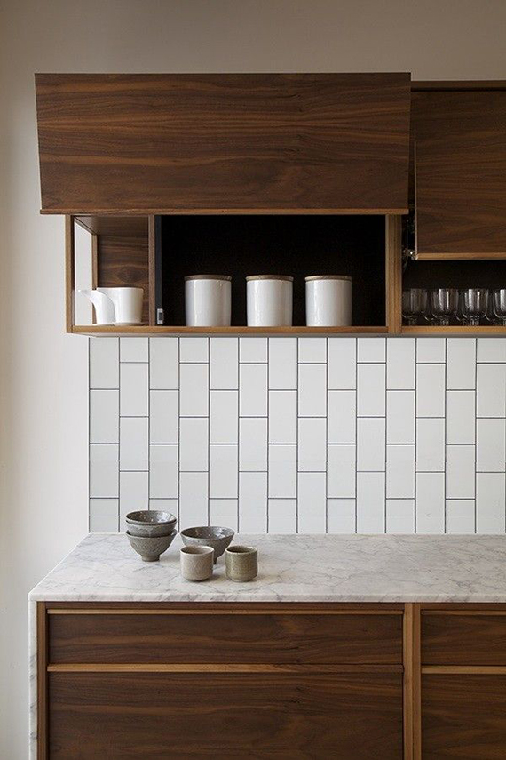 Kitchen backsplash with vertical running bond subway tile (via WSworkshop)