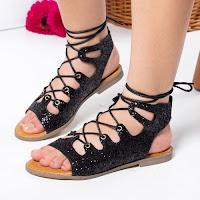 Sandale Birthe negre cu talpa joasa