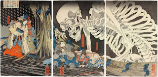 An image exemplifying Ukiyo-e. It depicts a witch beside some samurai and a giant skeleton looming over them.