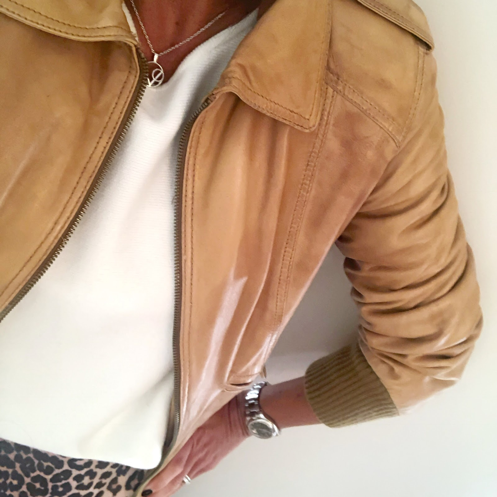 my midlife fashion, village england misterton necklace, massimo dutti leather tan jacket, massimo dutti boxy cream knit jumper, hudson kiver ankle boots, ganni leopard print frill detail wrap over skirt
