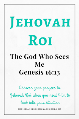 Jehovah Roi is from Genesis 16:13 and it means The God Who Sees Me