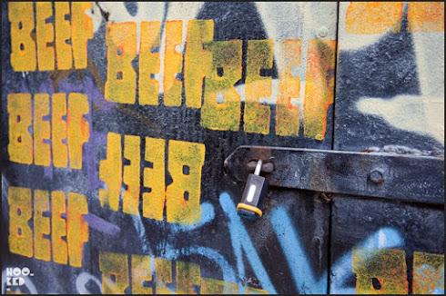 Graffiti Beef, Shoreditch Street Art work by New York artist Skewville.