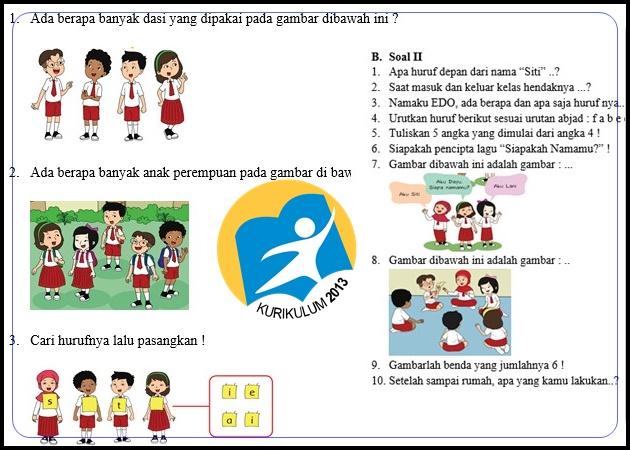 Bank Soal Kurikulum 2013 Kelas 1 Semester 1 Revisi Tahun 2017