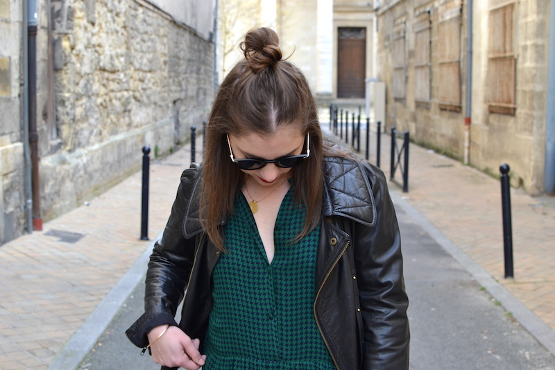 robe verte American Vintage, perfecto noir Isabel Marant