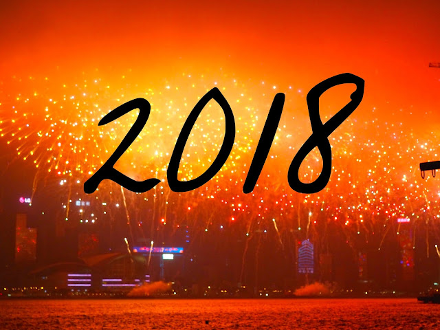 2018 text on fireworks background