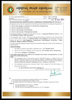 Doctor of Philosophy (Ph D): VTU PhD Notification 2017