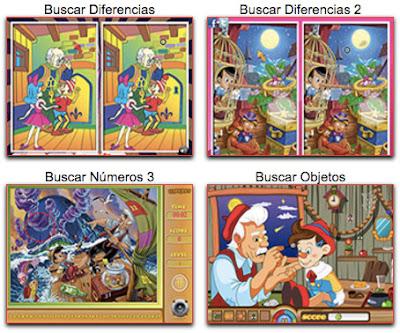 Juegos infantiles de Pinocho de Disney