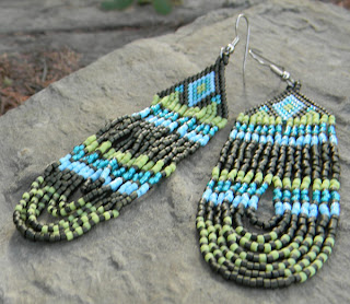 авторские работы бисером купить длинные серьги из бисера в этно-стиле