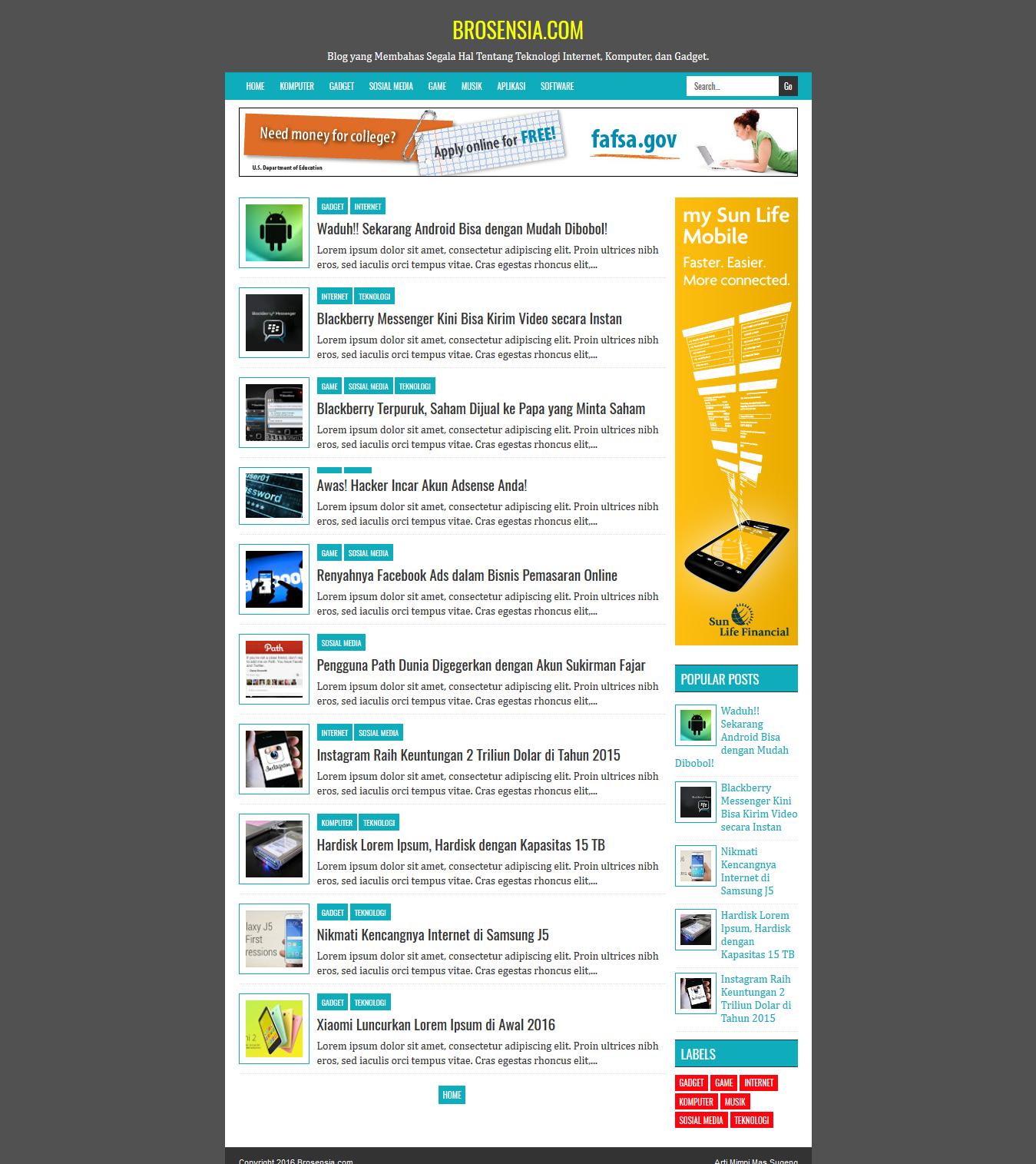 Blogger Template Blog Free Responsive Minimalist