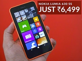 Nokia Lumia 630 (single SIM) just for Rs.6499 Only @ Flipkart(Lowest Price)