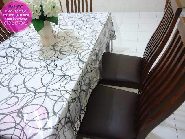 Meja makan second hand used murah cantik di area puchong selangor