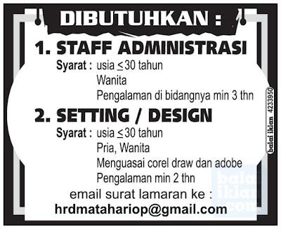 Lowongan Kerja Staff dan Desainer Bandung