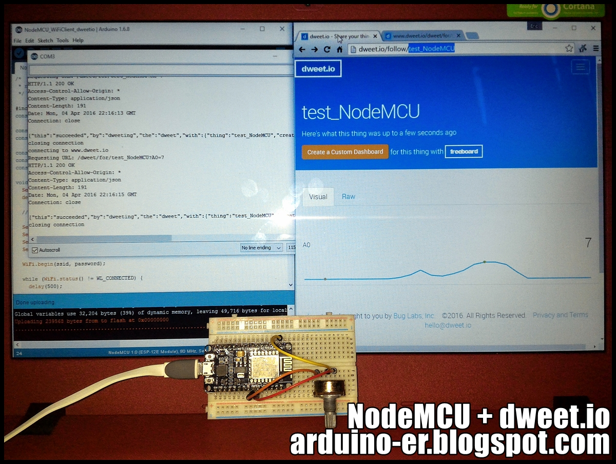 Arduino-er: NodeMCU act as WiFi client to update dweet io