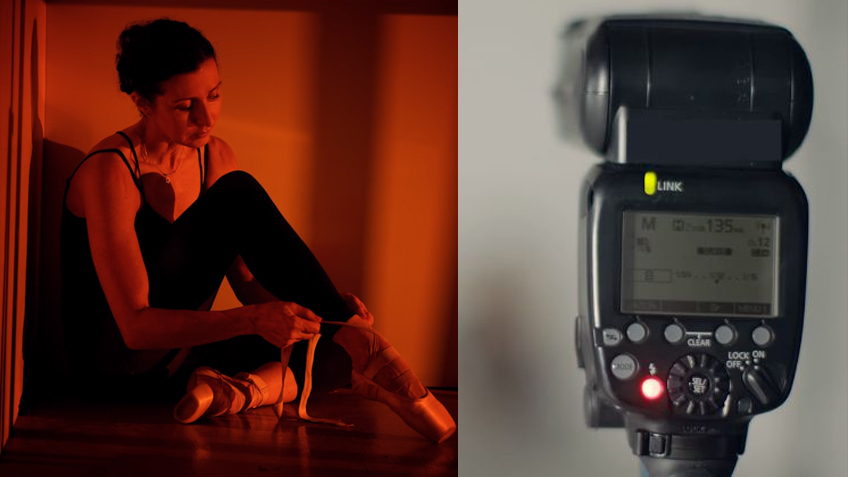 Портрет девушки в искусственной имитации закатного света и одна вспышка, с помощью которой это сделано