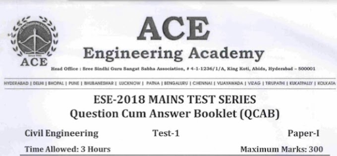 ESE PAPER-2 TEST-1 CIVIL ENGINEERING [ACE ACADEMY]