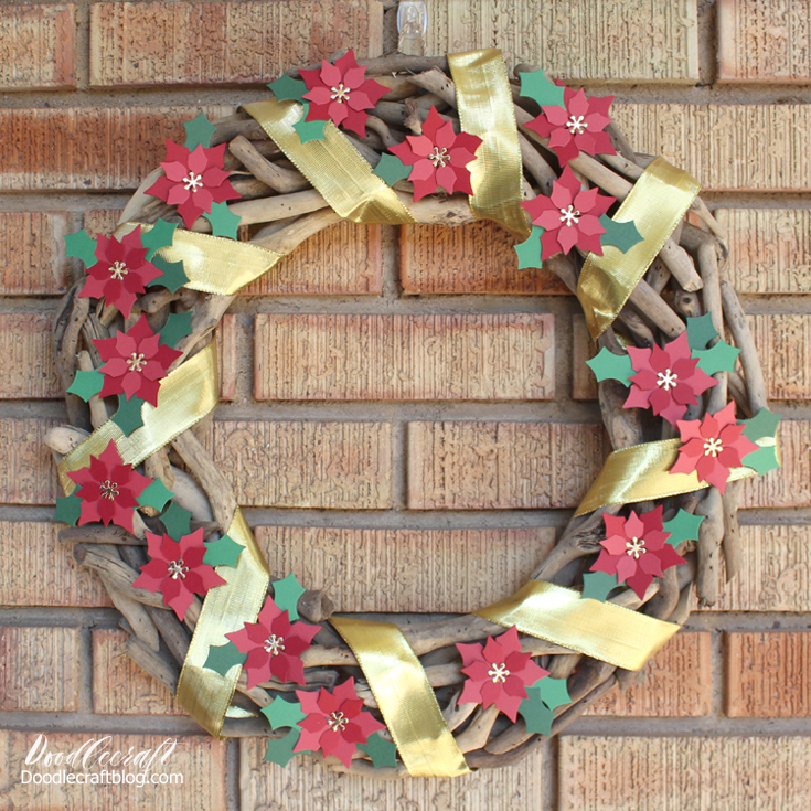 how to make a paper poinsettia driftwood wreath.