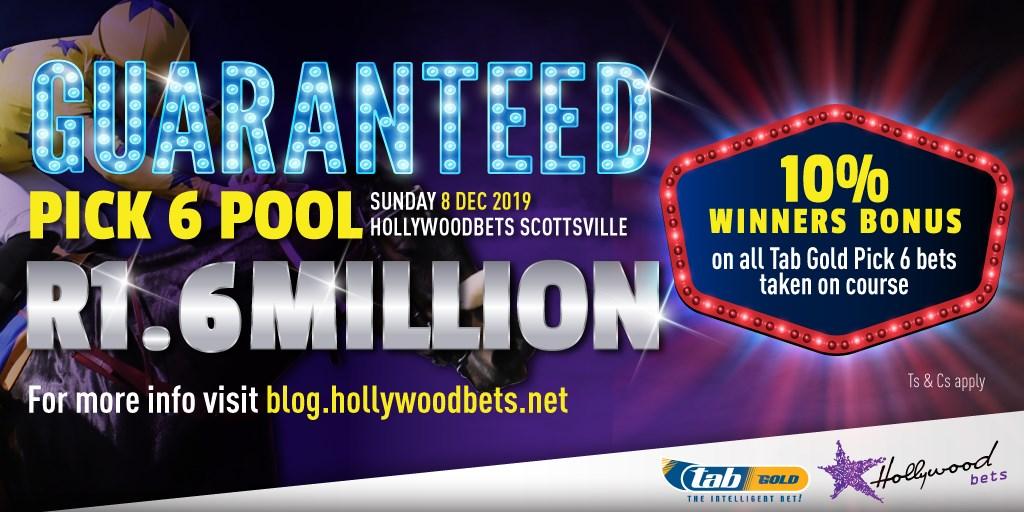 Guaranteed minimum Pick 6 pool of R1.6 million at Hollywoodbets Scottsville