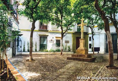 Filatelia - Tarjeta Postal - Plaza de Santa Marta (Sevilla) - 31.10.2018