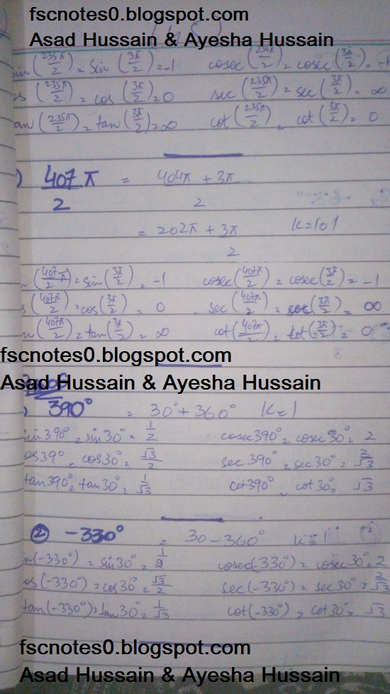 FSc ICS FA Notes Math Part 1 Chapter 9 Fundamentals of Trigonometry Exercise 9.3 Question 6 by Asad Hussain & Ayesha Hussain