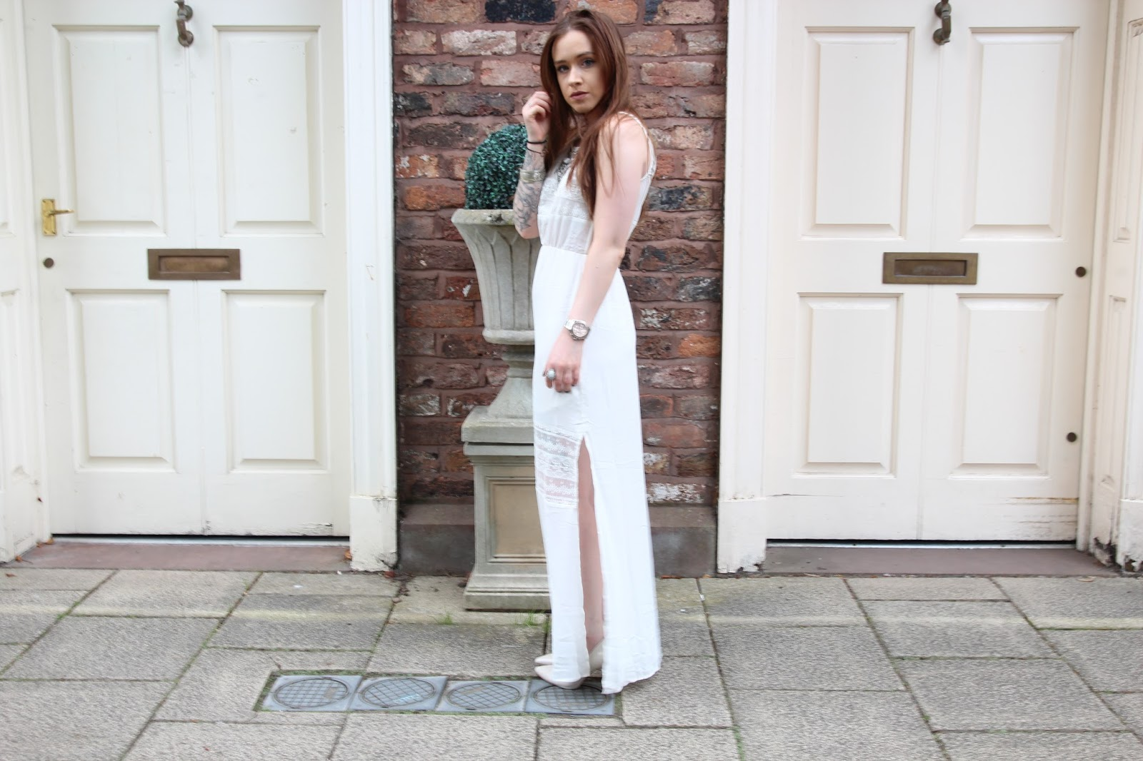 H&M white maxi dress