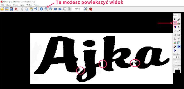 używanie gumki w irfanview - użyj aby zrobić odstępy między literami i rozpoznać czcionkę